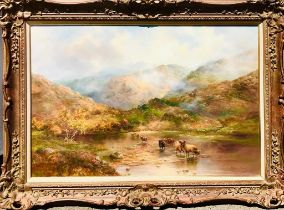 PRUDENCE TURNER- 'WATERING CATTLE IN THE MISTY HIGHLANDS', 20th CENTURY OIL ON CANVAS, SIGNED