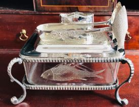 GLASS SARDINE DISH WITHIN SILVER PLATED STAND AND COVER, ALSO SARDINE TONGS AND PLATED NAPKIN RING