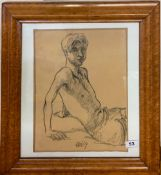 A birds eye maple framed charcoal sketch of a young man initialled and dated '69, frame size 47 x