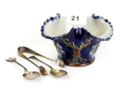 A Royal Doulton stoneware flared necked bowl, H. 8cm. Together with two hallmarked silver spoons and