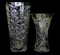 Two large cut crystal vases, tallest H. 35cm.