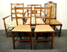 A group of five useful hall and bedroom chairs.