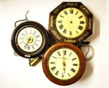 Three 19th Century wall clocks in various states of repair, largest Dia. 30cm.