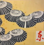 A large Japanese oil on canvas of parasols, 120 x 120cm. Condition: minor A/F.
