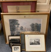 A quantity of framed engravings, largest 80 x 52cm.