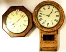 Two 19th Century wall clocks, octagonal 41cm. Inlaid 68cm.