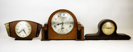 An Art Deco walnut veneered mantle clock and a further two mantle clocks.