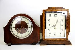 An Art Deco oak and chrome Genalex electric mantle clock, H. 27cm. together with an Enfield striking