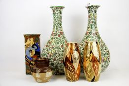 A pair of 1920's Royal Doulton octagonal vases, H. 36. together with a Royal Doulton harvest jug and