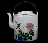 A large Chinese hand painted porcelain teapot with metal carrying handles, H. 23cm.