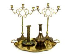 An Art Nouveau hammered gilt brass tray together with an Art Nouveau hammered brass vase, arts and
