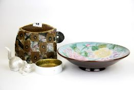 A signed studio pottery vase together with a Chelsea pottery bowl, a Rosenthal dish and a Lladro