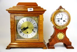 Two 19th/early 20th Century clock movements in later cases, H. 34cm.
