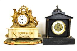 A French gilt metal and alabaster mantle clock ( no pendulum) together with a French slate mantle