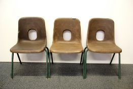 Three 1960's children's stacking chairs, H. 58cm.