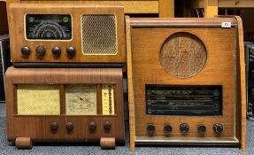 A wooden cased Ambassador radio model 949 together with a wooden cased Barker 88 radio together with