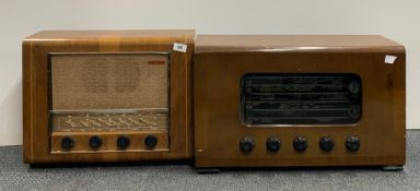 A wooden cased Cambridge PYE England radio together with a Ambassador radio works serial number