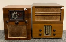 A wooden cased Cossor electric receiver model 40 together with a wooden cased McMichael radio.