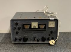 A Hammarlund HQ-145X communications receiver, 11cm x 19cm x 13cm.