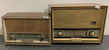 A wooden cased Saba-villigin-12 radio together with a Ferranti type A.1016 radio.