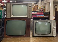 A wooden cased television receiver type TV135RU together with a further wooden cased and together