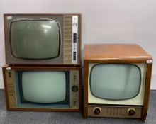 A wooden cased Bush Radio television receiver type TV56, 21.5cm x 17cm x 19cm, with a Bush