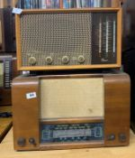 A wooden cased Invictor radio Ltd England together with a wooden cased G Marconi T.42.AY radio.