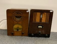A wooden cased Vidor radio model 258 together with a wooden cased Cossor melody maker model 357.