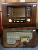 A wooden cased His Masters Voice radio model 1119 together with a wooden cased A.C. Cossor Ltd radio