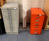 Two filing cabinets with a quantity of miscellaneous radio &/or TV items.