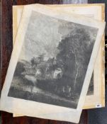 Two unframed early pencil signed etchings printed on vellum after John Constable, 51cm x 64cm.