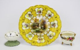 A Royal Worcester hand painted and gilt porcelain cabinet plate together with two further