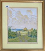 A Hall Thorpe '1874-1947' pencil signed framed wood cut entitled 'The open gate', 43cm x 51cm.