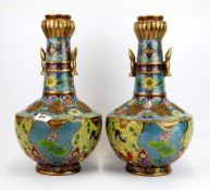 A pair of impressive large Chinese cloisonne on bronze vases decorated with panels of lotus ponds