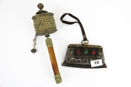A Tibetan leather brass and steel Chukmuk (Fire purse), W. 15cm. Together with a Tibetan prayer