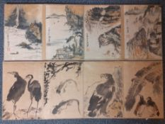 Two Chinese folding books of watercolour paintings, 90cm x 27cm x 3cm.