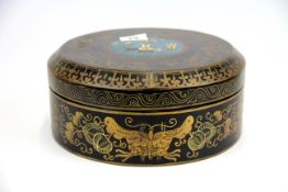 A Chinese cloisonne inset lacquered box, dia. 28cm H. 11cm.