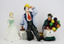 Three Royal Doulton porcelain figurines, Grace HN3699, Slapdash HN2277, Old balloon seller, HN1315.