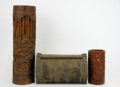 Three early twentieth century Chinese carved bamboo items, tallest 33cm.