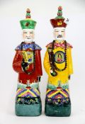 Two Chinese hand painted porcelain figures, H. 38cm.