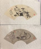 Two Chinese silk mounted fan paintings, 65cm x 38cm.