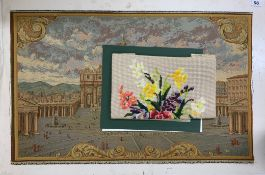 An unframed tapestry mounted on card, 73cm x 45cm together with a watercolour and further tapestry.