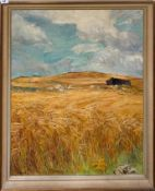 A large framed oil on board, entitled 'On the island before harvest' by Sibyl Milnes, 80cm x 101cm.