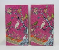 A pair of unusual Chinese hand painted square form porcelain vases, H. 30cm.