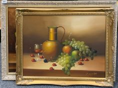 Two framed still life oils on canvas, largest 84cm x 59cm.