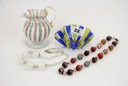 A group of lovely Venetian glass items, jug H. 12cm.