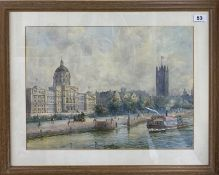 A William Edward Riley, ARIBA, (1852-1937) framed watercolour of an proposed scene for County Hall