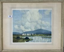 A Paul Henry framed pencil signed lithograph of a rural scene, 65cm x 55cm.