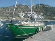 A 32 ton steel yacht moored in Samos, Greece. Built 1986, 14.7 x 4.03m, draught 2m. With BWM