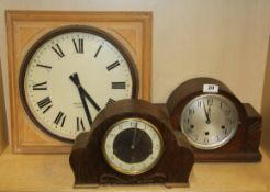 Two mid-20th century mantel clocks and a pine framed wall clock with battery movement.